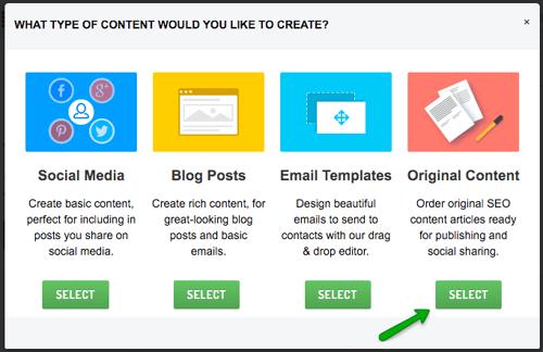 Original content creation via Sendible