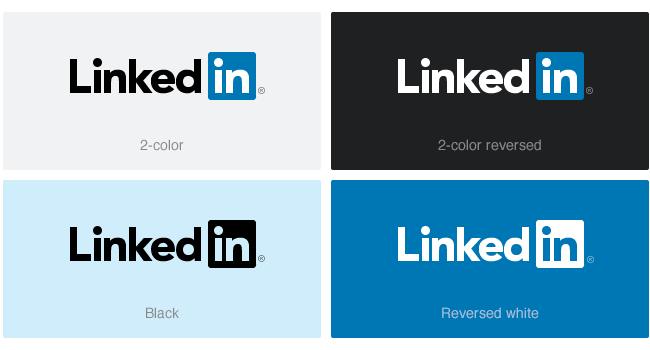 LinkedIn logo color variations