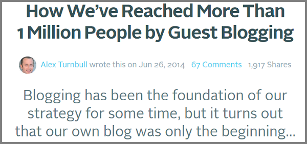 Alex Turnbull boosted his business by guest posting