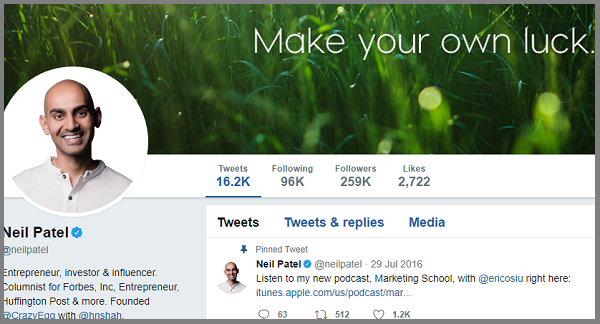 Neil Patel is an influencer in content marketing
