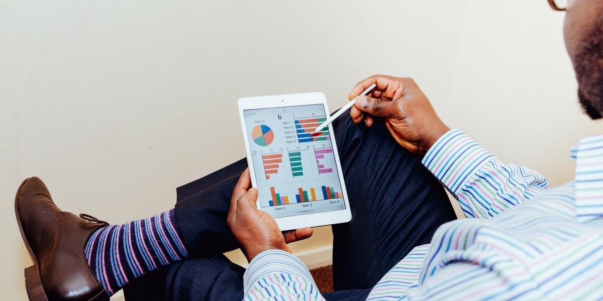 Social media manager analyzing data