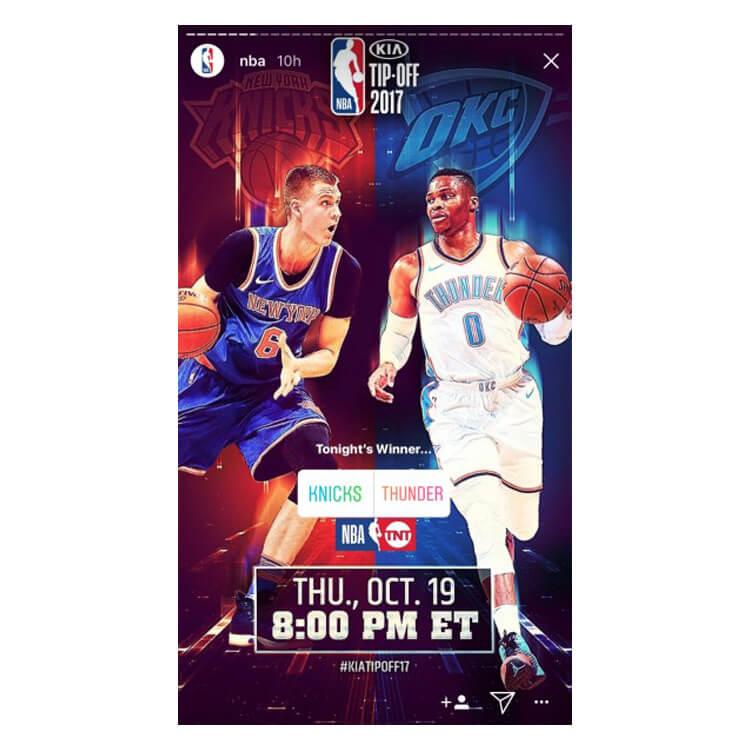NBA poll on Instagram Stories