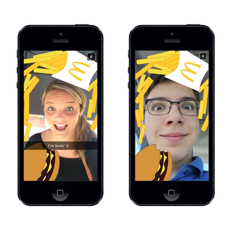 Mcdonald's branded geofilters for Snapchat