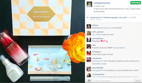 Birchbox inviting an influencer to their social strategy on Instagram