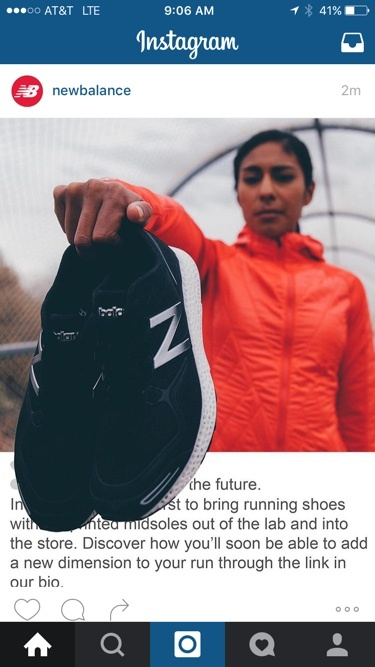 3D visual ad by New Balance on Instagram