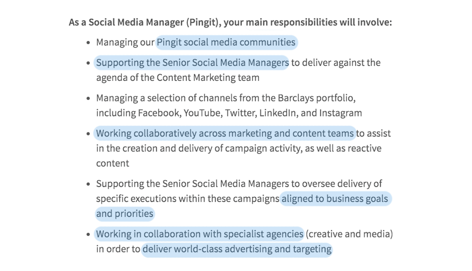 Social media manager job advert from Barclays