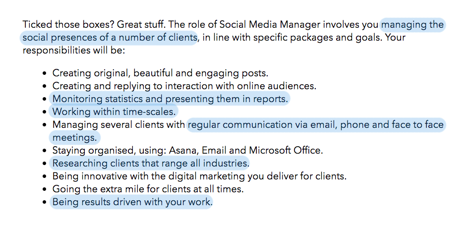 Job advert for a social media manager role for Giraffe