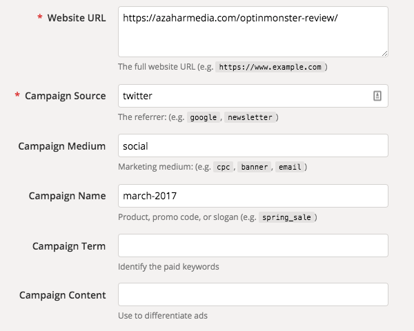 Custom URL builder by Google