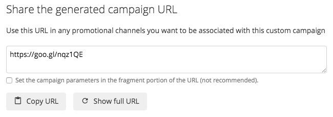 Shortened URL with custom UTM values