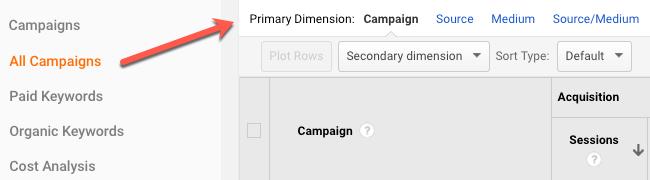 Primary Dimension in Google Analytics