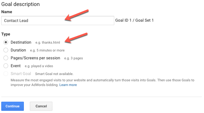 Creating goals in Google Analytics