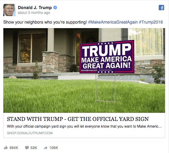 Donald Trump election campaign ad on Facebook
