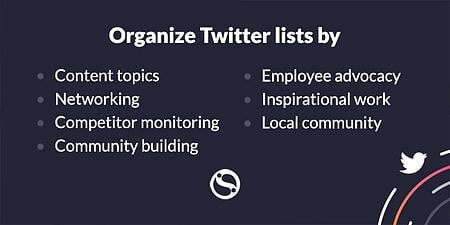 Organise your Twitter lists by the following subjects