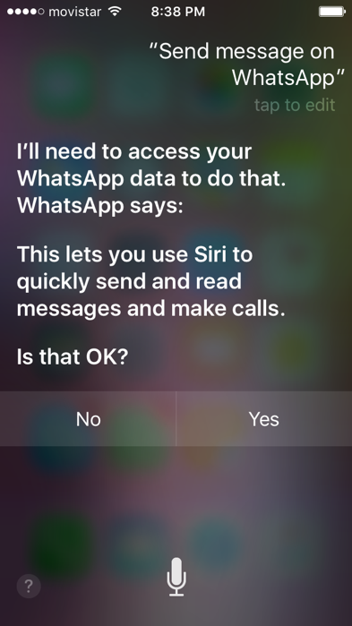 Siri sending WhatsApp messages