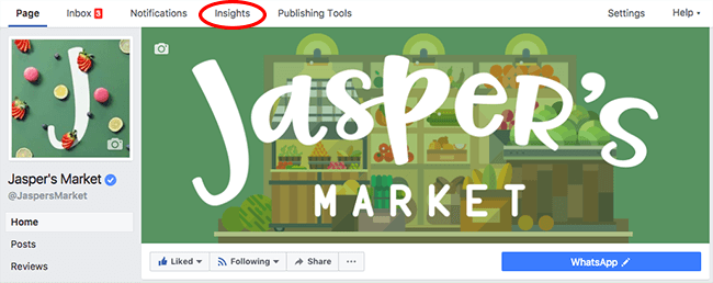 Facebook Page Insights for Jasper's Market