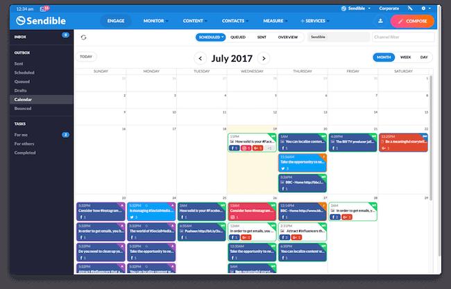 Social Media Calendar in Sendible
