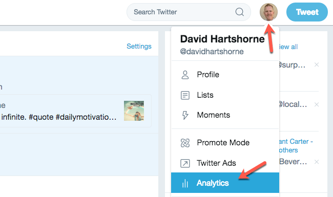 Twitter Analytics available natively