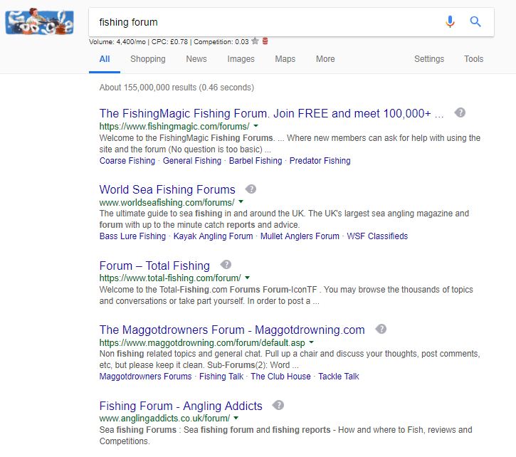 Fishing + forum search on Google