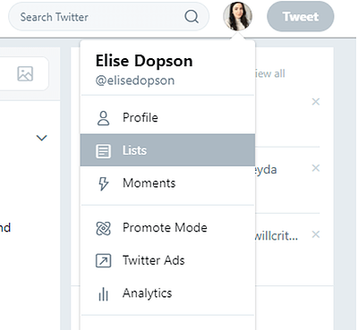 Access Lists in Twitter from your profile