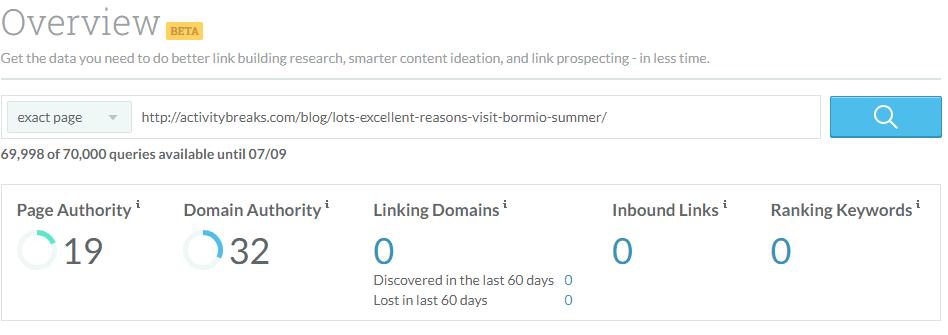 Moz Link Explorer tool demo