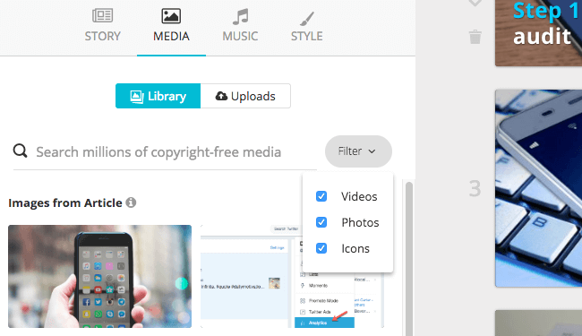 Add media to your social media videos in Lumen5