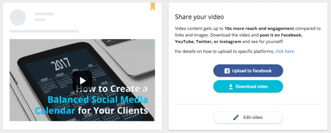 Publishing and sharing features for social videos in Lumen5
