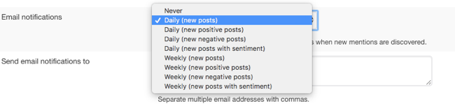 Keyword monitoring email notification options
