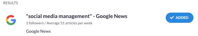 Google Alert feed added