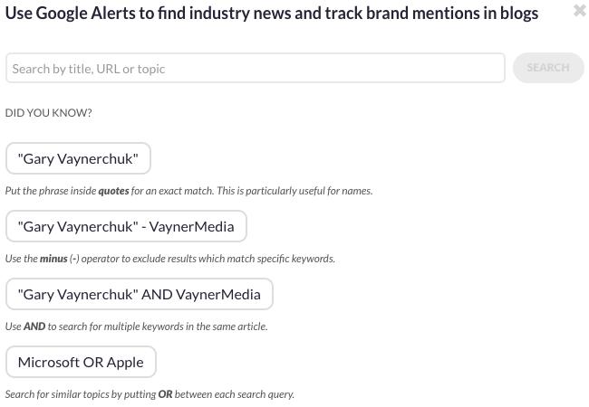Google Alerts settings in Sendible
