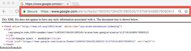 Google Alerts RSS URL
