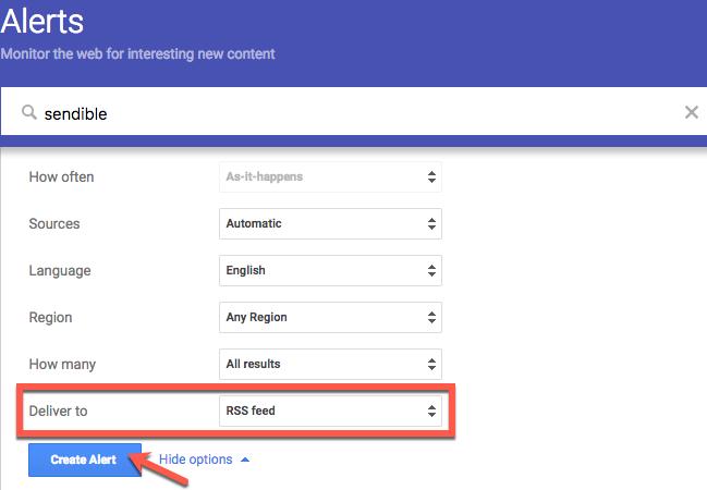 Google Alerts settings