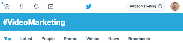 Twitter search for #VideoMarketing hashtag