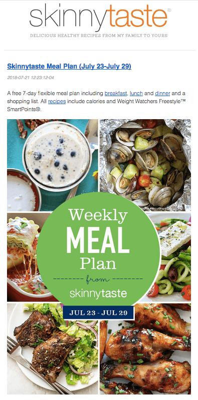 Skinnytaste free meal plan email