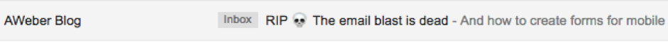 Subject line from AWeber