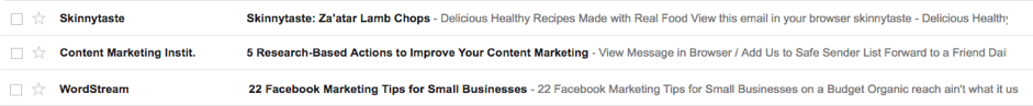 Effective subject lines from Skinnytaste, CMI and WordStream
