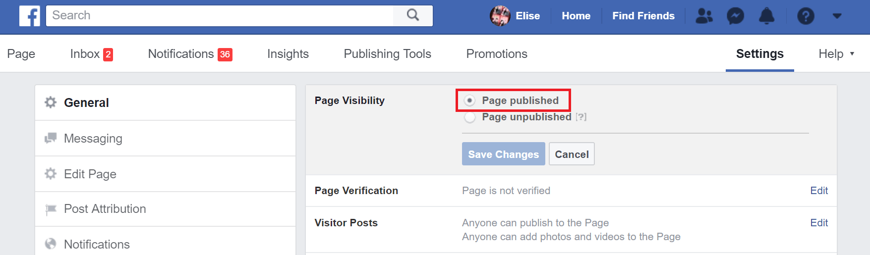 Settings for publishing your Page