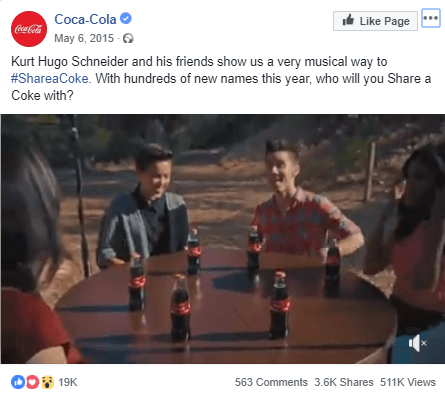 #ShareACoke campaign on Facebook