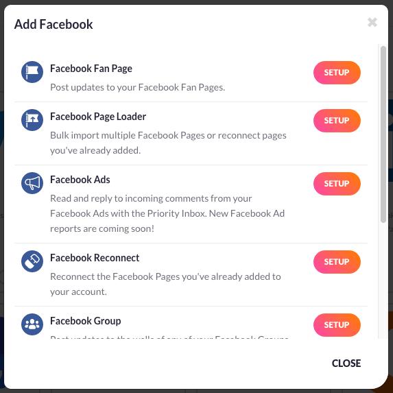 Facebook services in Sendible