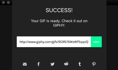 GIPHY Capture app - sharing