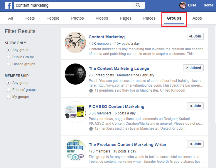 Find relevant Facebook groups