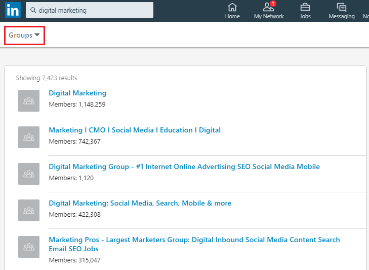 Find LinkedIn groups