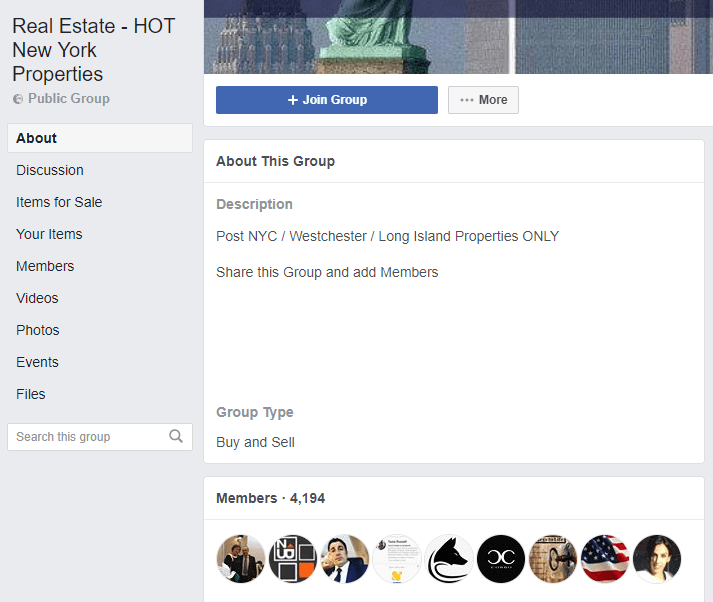 facebook group example for real estate