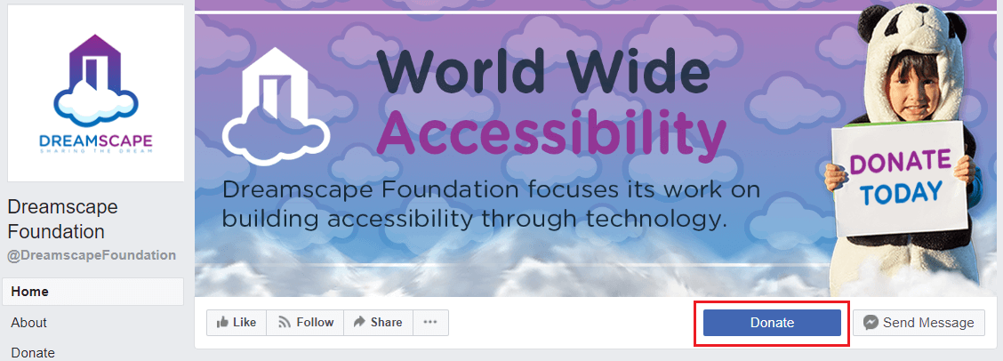 Donate button on Dreamscape Foundation's Facebook Page