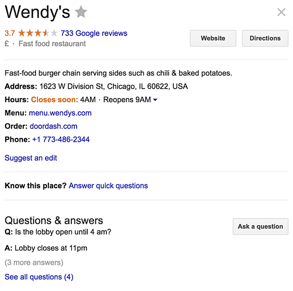 restaurant blog wendys google my-business listing