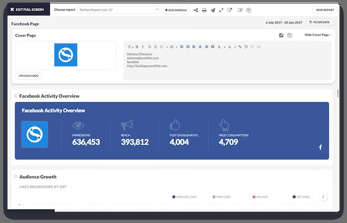Report builder in Sendible for social media networks