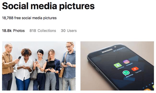 social media graphics unsplash search