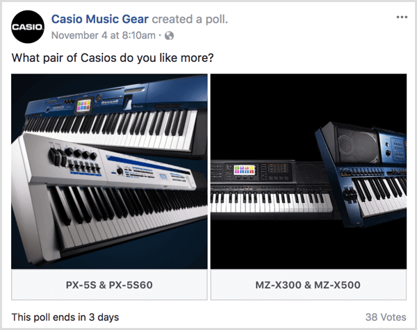 social media experiments facebook poll casio
