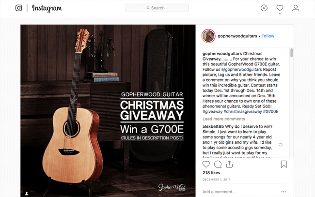 social media experiments guitar giveaway