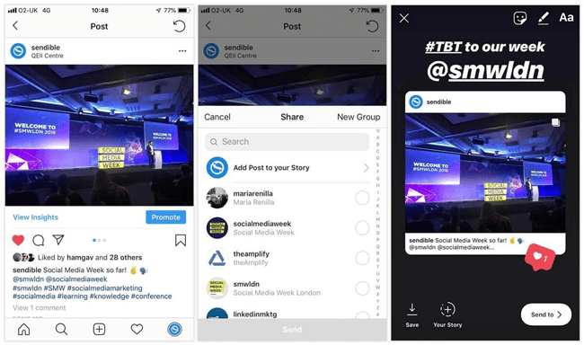 social media experiments instagram feed post to stories