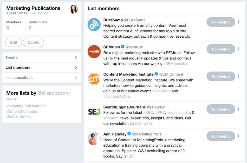 twitter lists for content curation